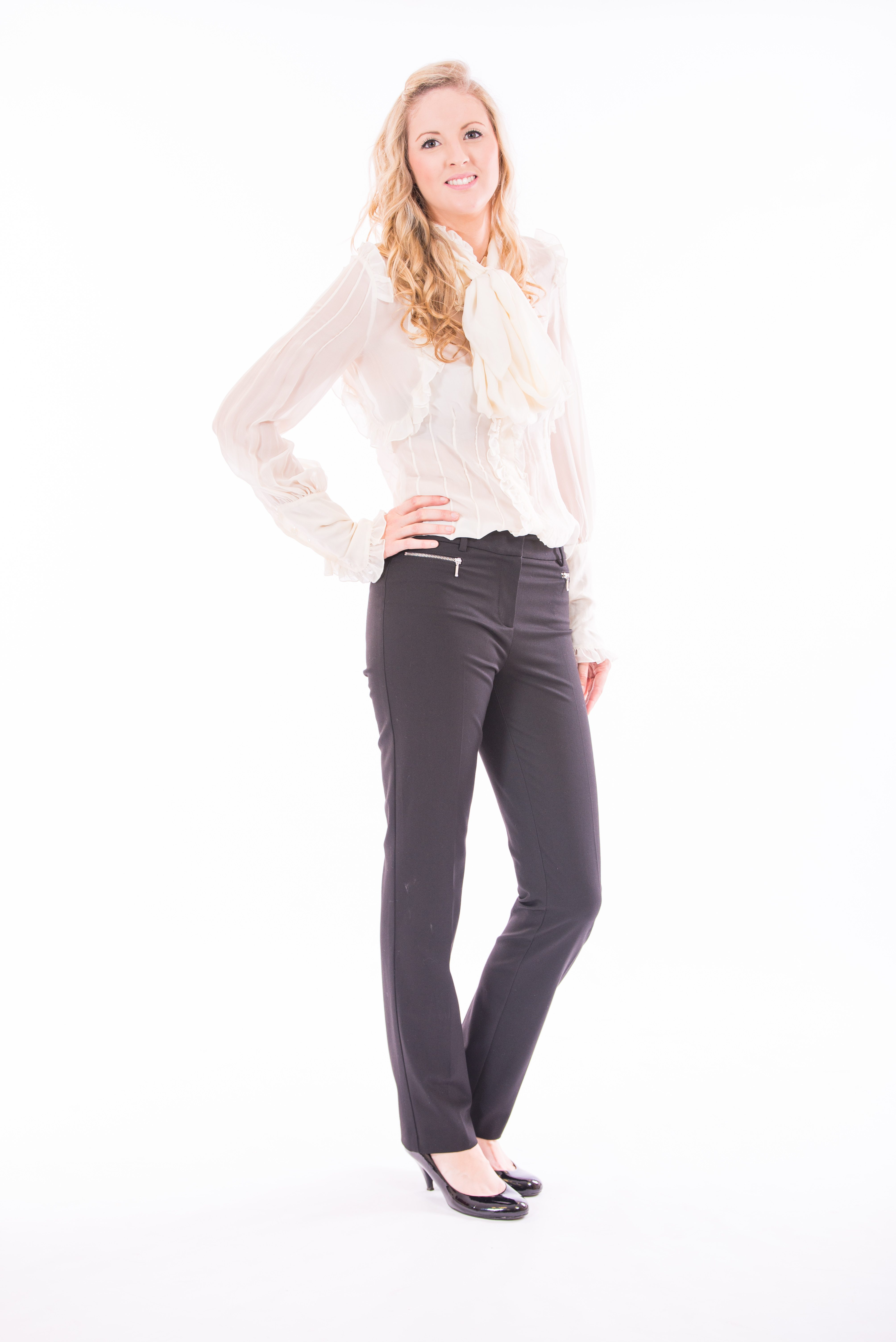 Black trousers with zip detail