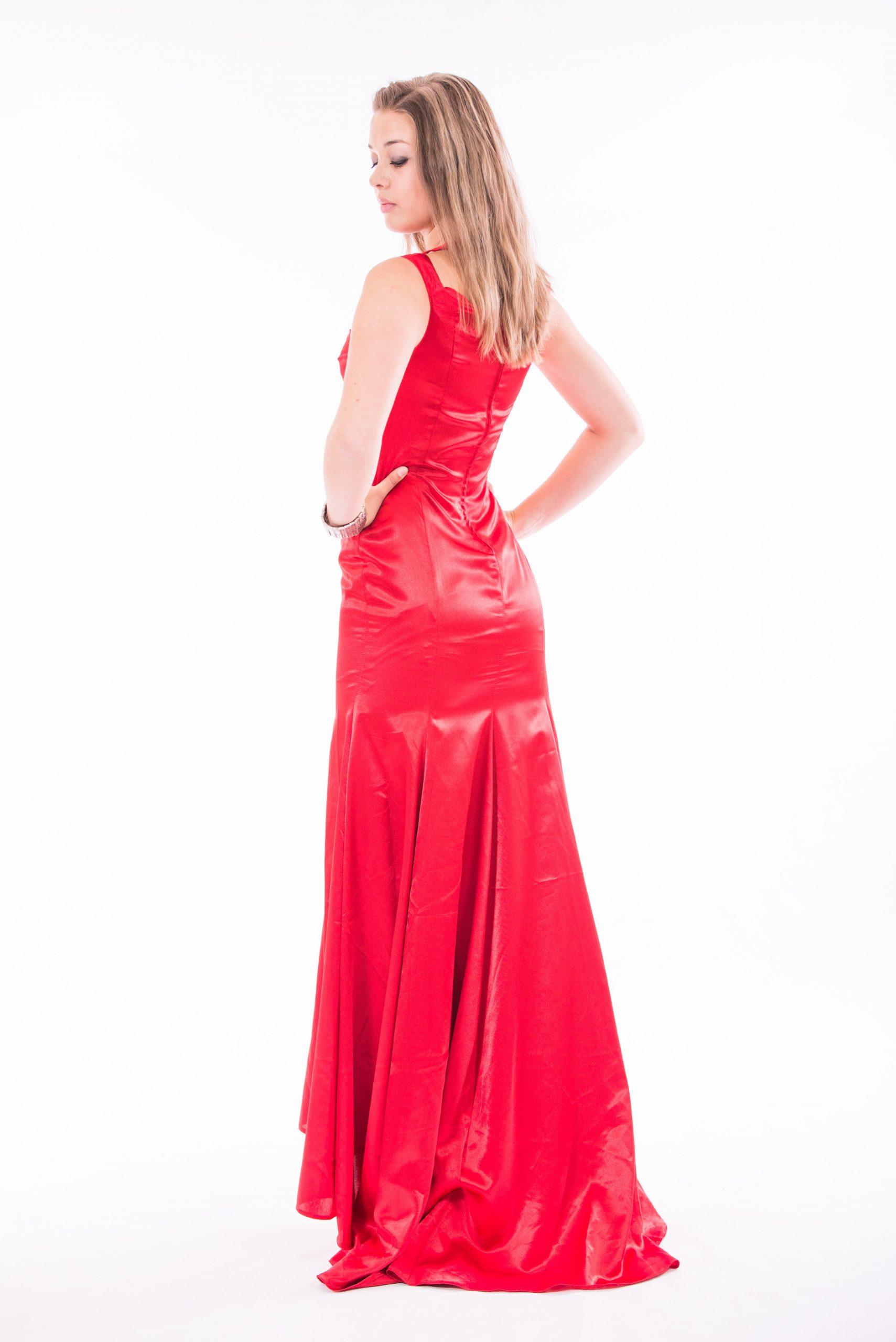 Crepe-backed Satin Evening Dress