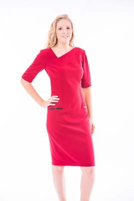 'A' Symmetric V Neck Knee Length Dress