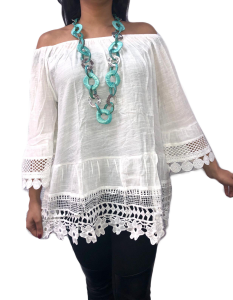 White off the shoulder linen blouse lace trim